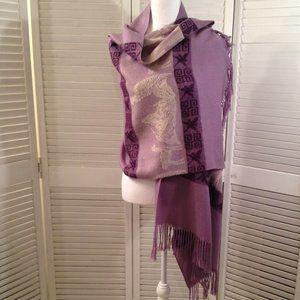 Unbranded Purple Fringed Scarf
